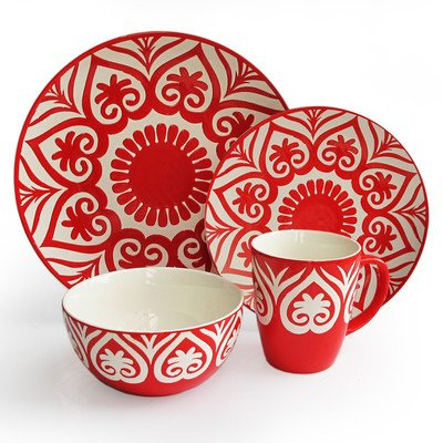 American Atelier Oregami Round 16-Piece Dinnerware Set, Red