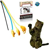 3 Soft Strands with Feathers Teaser and Exerciser For Cat and Kitten - Cat Toy Interactive Cat Wand