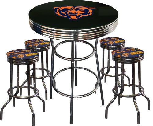 Sports pub table sets archives stools sale stools sale 5 piece chicago bears logo chrome finish black pub table w 4 bar stools watchthetrailerfo