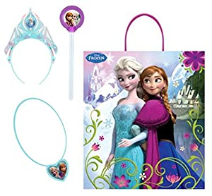 Disney Frozen Tote Bag, Glow Wand, Glowing Necklace Pendant and Elsa Glow-in-the-dark Headband Tiara Bundle Set of 4