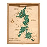 Linsley Lake in New Haven, CT - 2D Serving Tray 14 x 18 IN - Laser carved wood nautical chart and topographic depth map.