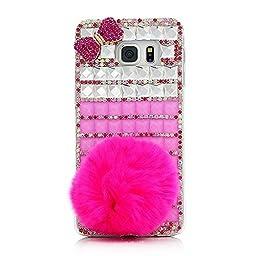 Samsung Galaxy S7 Edge Case, Sense-TE Luxurious Crystal 3D Handmade Sparkle Diamond Rhinestone Clear Cover with Retro Bowknot Anti Dust Plug - Rabbit Tail Lattice Bowknot / Peach