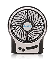 ETONG Mini 4-inch USB Electric Cooling Fan Rechargeable Portable Table Fan 3-speed Electric Personal Fan with LED (Black)