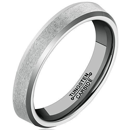 MNH Men Tungsten Carbide Ring Wedding Engagement Band 4mm Comfort Fit Beveled Edge Brushed Classy (Tungsten Carbide Ring Set compare prices)