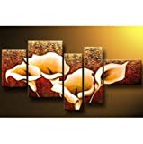 5 Pics Calla Lily Flower Large Abstract Modern 100% Hand Painted Oil Painting on Canvas Wall Art Deco Home Decoration (Unstretch No Frame)