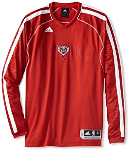 NBA Milwaukee Bucks On-Court Long Sleeve Shooter, X-Large,Red White by adidas