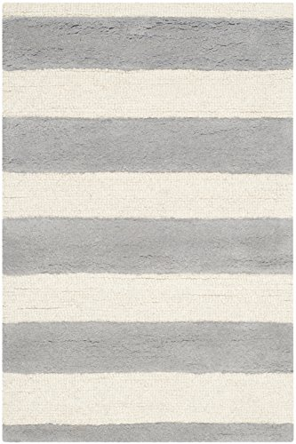 Safavieh Cambridge Collection CAM154A Handmade Grey and Ivory Wool Area Rug, 3 feet by 5 feet (3' x 5')