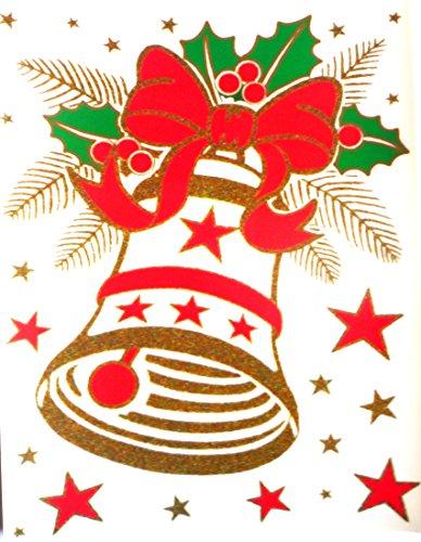"""RETRO KULT 24 x 17 cm groß """"GLOCKE Gold Sterne rot mit Schleife"""" , Fensterdekoration Fensterbild, Fensteraufkleber, MADE IN GERMANY Wandtattoo Deko Sticker, Weihnachtsdekoration, Schaufenster In- und Outdoor , Kinderzimmer, Winter Basteln Spielen Kleben, Bunte Klebebilder für das Fenster Sticker, Weihnachten Rentier Tannenbaum Geschenke Weihnachtskalender Nikolaus Engel Christmas Schneemann"""