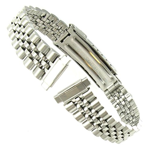 10-14mm T&C Silver Tone Stainless Steel Ladies Deployment Buckle Watch Band (Watch Strap Stainless Steel 10mm compare prices)