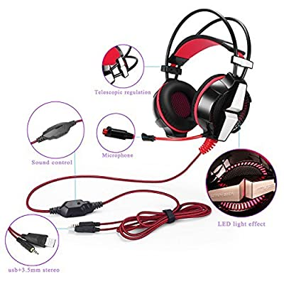 KOTION EACH GS700 3.5mm Gaming Game Headset Headphone Earphone Headband with Mic Stereo Bass LED Light for PS4 PC Computer Laptop Mobile Phones