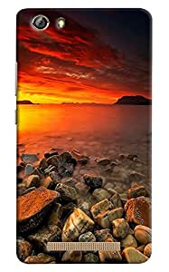 Omnam Sea Side With Sun Rise Effect Beautiful Printed Designer Back Cover Case For Gionee Marathon M5 Lite