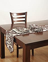 White And Brown Cotton Duck Fabric Indian Table Linens Set with 4 Dinner Napkins And Table Runner - Machine Washable