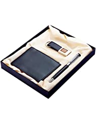 Pyramid 3 In 1 Gift Set Of Gents Wallet, Pen And Key Ring
