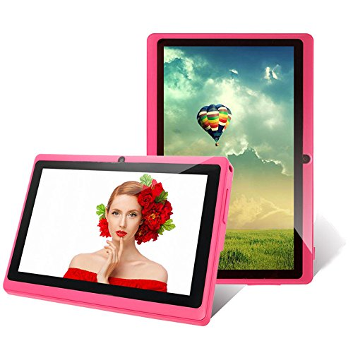 iRulu 7 inch HD Touch Screen Tablet PC, Android 4.2 Jelly Bean OS, 1024*600 HD Screen with 5 Point Capactive Touch, Dual Core, Allwinner A23 CPU, Dual Cameras(0.3/2MP), 8GB Storage (Pink)