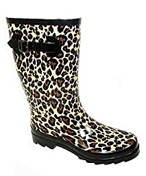 Shoes 18 Womens Classic Rain Boot With Buckle Prints & Solids (9/10, Leopard 5000)