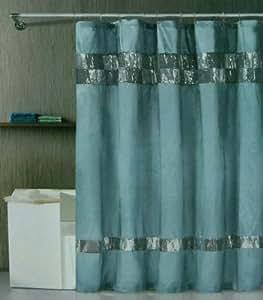 xanadu blue fabric shower curtain blue and brown shower curtain. Black Bedroom Furniture Sets. Home Design Ideas