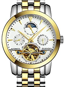 Fanmis Men Luminous Waterproof Automatic Mechanical Stainless Steel Watch Calendar Moon Phase Gold White