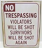 No Trespassing Vintage Look Metal Sign Aged