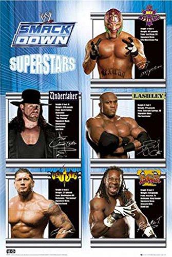 Wrestling Poster Smackdown WWE Superstars + articolo aggiuntivo