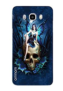Omnam Girl Giving Pose On Skull Printed Designer Back Cover Case For Sumsang Galaxy J5 (2016)