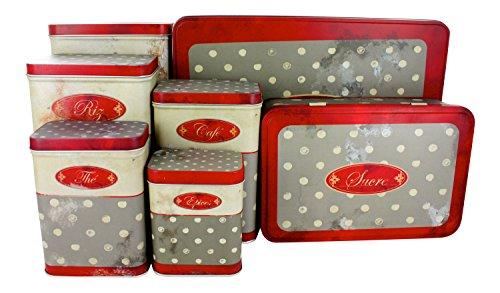 """French Set Of 7 Tin Boxes """"Polka Dot"""""""