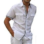 Two pockets lined short sleeve linen shirt.