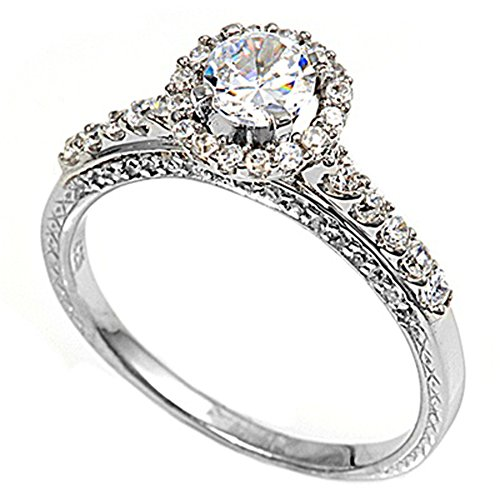 Sterling Silver Woman'S Clear Cz Wedding Engagement Ring Cute Comfort Fit Band Size 10 Valentines Day Gift