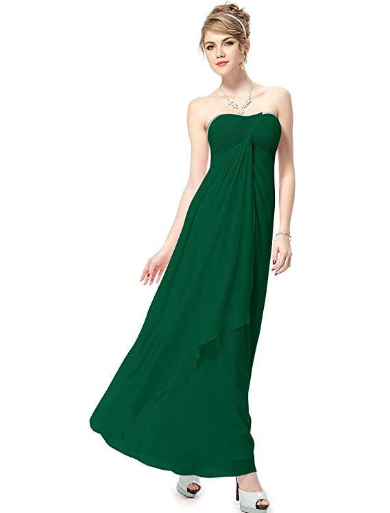 Ever Pretty Strapless Sequined Neck Ruched Long Green Bridesmaids Dress 08101