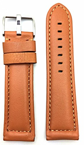 26Mm Long, Brown, Panerai Style, Smooth Soft Leather Watch Band
