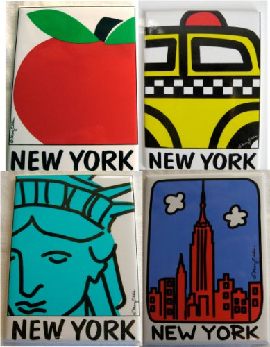 New York Refrigerator Magnets Souvenir Gift Set of 4: Taxi, NY Skyline, Statue of Liberty, NYC Heart
