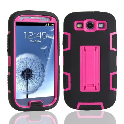 Magicsky Robot Series Hybrid Armored Case With Kickstand For Samsung Galaxy Iii S3 I9300 - 1 Pack - Retail Packaging - Hot Pink/Black