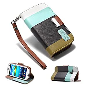 32nd® Multiple stripes book wallet PU leather case cover for Samsung Galaxy S3 Mini (S iii Mini) i8190 + screen protector, cloth and stylus - Turquoise