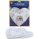 Hygloss 93661 36-Piece Heart Doilies, 6-Inch, White