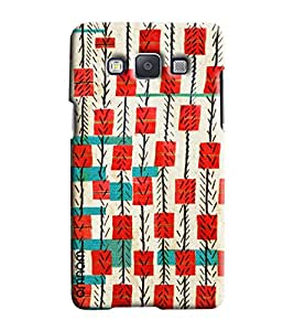 Omnam Stripes With Red And Cream Printed Designer Back Cover Case For Samsung Galaxy E7
