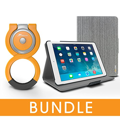 roocase iPad Air 2 1 Orb Bundle, Folio Case Cover Stand for Apple iPad Air 2 1 with Orb Loop Stand - Rotating and Detachable iPad Air 2 / Air 1 Tablet Shell Case, Canvas Gray [Patented Orb System]