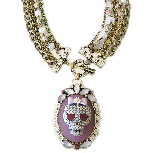 "Betsey Johnson Betsey Johnson GIRLIE GRUNGE Skull Beaded Multistrand 18"" Necklace"