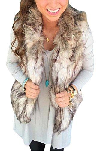 Minetom Donna Cool Gilet Senza Maniche Faux Fur Inverno Coat Outerwear Giacca Panciotto ( IT 44 )