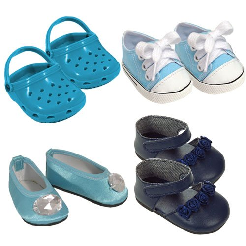 18 Inch Doll Shoe Pack in Blue. Fits American Girl Dolls. 4 Pairs of Blue Shoes. - 1