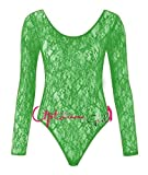 NEW WOMENS LADIES LONG SLEEVE FLORAL LACE BODYSUIT FLOWER LACE TOP LEOTARD 8-18