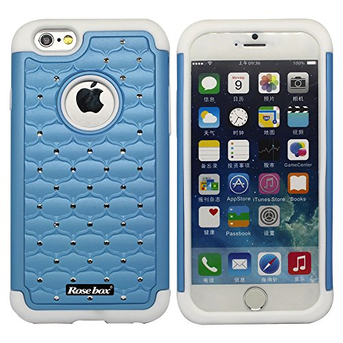 RoseBox® IPhone 6 Plus Case Apple iPhone 6 Plus Case 5.5 Inch Leather Case Elegant Design Bling Starry Sky Crystal Diamond Case High quality PC + Silicone Hybrid Bumper Case Cover for Apple iPhone 6 Plus Case 5.5 and Stylus (Light blue &White)