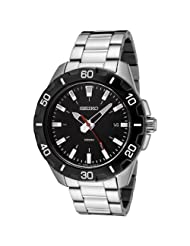 Seiko Men's SGEE49 Black Dial Stainless Steel Watch