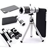 EtryBest(TM) 12X Optical Zoom Telescope Camera Lens + Mini Tripod + Premium Hard Case Cover + Pouch Bag Kit for Apple iPhone 6