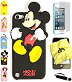 Bukit Cell ® 3D Cartoon Case Bundle - 4 items: ANIMATED MICKEY MOUSE Cute Soft Silicone Case Cover for iPod Touch 5 5G 5th Generation + BUKIT CELL Trademark Lint Cleaning Cloth + Screen Protector + METALLIC Stylus Touch Pen with Anti Dust Plug