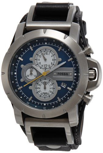 Fossil Men's JR1156 Black Leather Strap Blue Analog Dial Chronograph Watch
