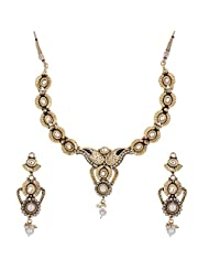 Shahenaz Jewellers 24 Ct Gold Plated Bridal Jewellery Set With Marquis Stones For Women