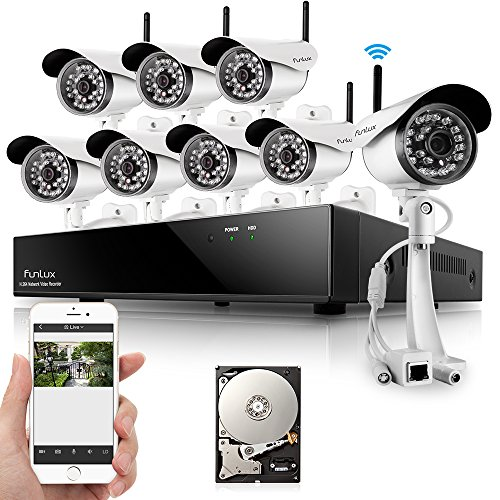 Big Save! Funlux® 8 Outdoor 1280* 720P HD Wireless IP Network Security Camera Home Surveillance Sys...