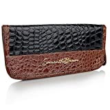 Samantha Brown Croco-Embossed Passport Wallet with Luggage Tags - Black