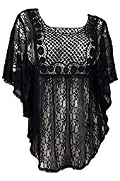 eVogues Plus Size Sheer Crochet Lace Poncho Top Black - 1X