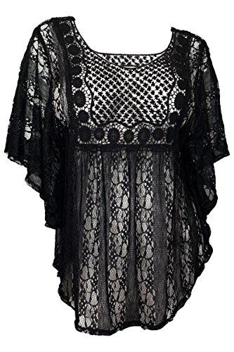 eVogues Plus Size Sheer Crochet Lace Poncho Top Black - 1X (Jr Plus Size Tops compare prices)