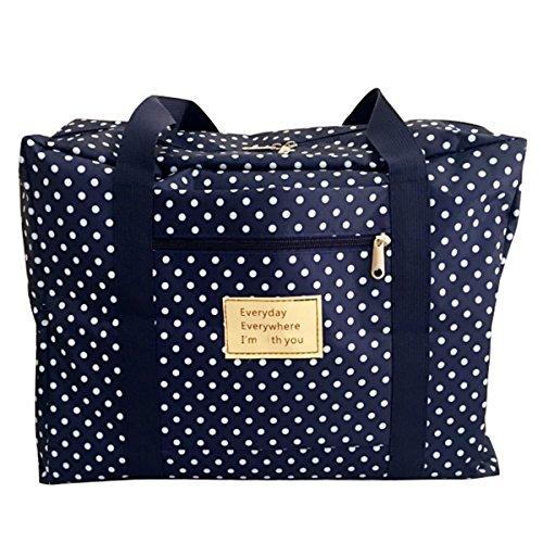 Panegy 50L Bagage Sac de Voyage / Rangement / Déménagement - à Tissu Oxford - anti-poussière Imperméable - 50*40*25cm Bleu à Pois